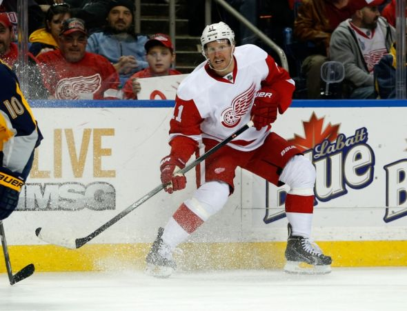 Alfredsson in Red Wings uniform, paused