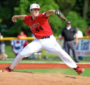 Photo credit: George A. Faella | Stony Brook starting pitcher Tyler Johnson #44 delivers against Maine in the America East tournament. (May 23, 2012)