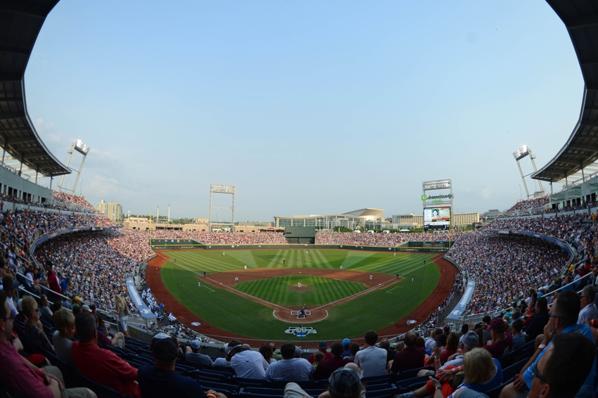 Jun 25, 2013; Omaha, NE, USA; General view of TD Ameritrade Park during the first inning in game 2 of the College World Series finals between the UCLA Bruins and the Mississippi State Bulldogs. Mandatory Credit: Kyle Terada-USA TODAY Sports