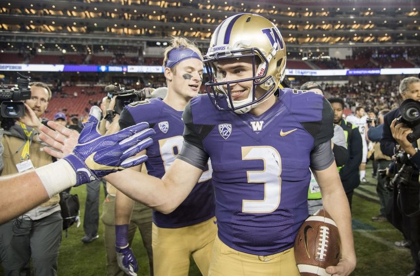 December 2, 2016; Santa Clara, CA, USA; Washington Huskies quarterback Jake Browning (3) celebrates after the Pac-12 championship against the Colorado Buffaloes at Levi