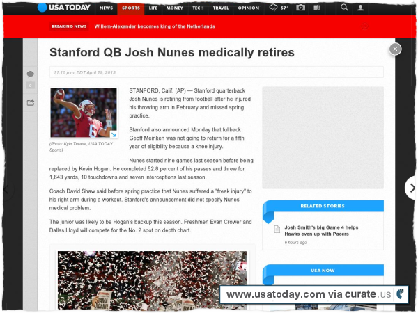 Clipped from http://www.usatoday.com/story/sports/ncaaf/2013/04/29/stanford-qb-josh-nunes-medically-retires/2122653/