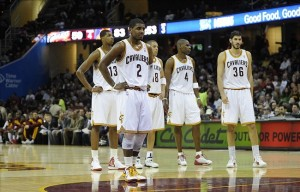 Mar 25, 2012; Cleveland, OH, USA; Cleveland Cavaliers point guard Kyrie Irving (2) stands in front of teammates forward Tristan Thompson (13), shooting guard Anthony Parker (18), power forward Antawn Jamison (4), and small forward Omri Casspi (36) in the third quarter of game against the Phoenix Suns at Quicken Loans Arena. The Suns defeated the Cavaliers 108-83. Mandatory Credit: David Richard-US PRESSWIRE