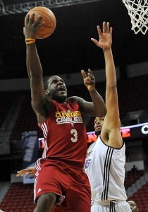 July 17, 2012; Las Vegas, NV, USA; Cleveland Cavaliers guard Dion Waiters (3) makes a shot over Phoenix Suns center Patrick O