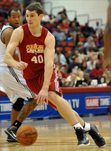 July 19, 2012; Las Vegas, NV, USA; Cleveland Cavaliers forward Tyler Zeller (40) drives during the first half of the game against the Minnesota Timberwolves at the Cox Pavilion. Mandatory Credit: Jayne Kamin-Oncea-US PRESSWIRE
