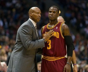 Nov 3, 2012; Milwaukee, WI, USA;  Cleveland Cavaliers head coach Byron Scott (left) talks with guard Dion Waiters (3) during the game against the Milwaukee Bucks at the BMO Harris Bradley Center.  The Bucks defeated the Cavaliers 105-102.  Mandatory Credit: Jeff Hanisch-US PRESSWIRE