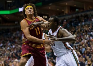 Nov 3, 2012; Milwaukee, WI, USA; Cleveland Cavaliers center Anderson Varejao (17) battles Milwaukee Bucks center Samuel Dalembert (21) for position during the game at the BMO Harris Bradley Center. The Bucks defeated the Cavaliers 105-102. Mandatory Credit: Jeff Hanisch-US PRESSWIRE