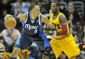 Nov 17, 2012; Cleveland, OH, USA; Dallas Mavericks small forward Shawn Marion (0) dribbles against Cleveland Cavaliers shooting guard Dion Waiters (3) in the fourth quarter at Quicken Loans Arena. Mandatory Credit: David Richard-US PRESSWIRE