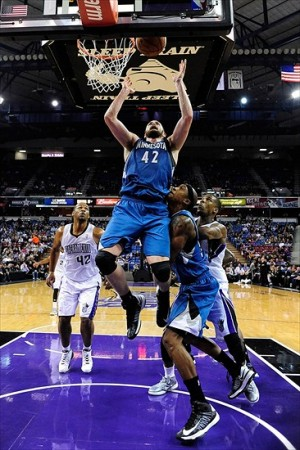 November 27, 2012; Sacramento, CA, USA; Minnesota Timberwolves power forward Kevin Love (42) grabs a rebound during the second quarter against the Sacramento Kings at Sleep Train Arena. The Timberwolves defeated the Kings 97-89. Mandatory Credit: Kyle Terada-USA TODAY Sports