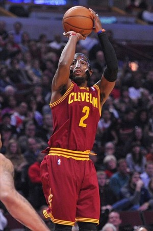 Jan 7, 2013; Rosemont, IL, USA; Cleveland Cavaliers point guard Kyrie Irving (2) shoots the ball against the Chicago Bulls during the first quarter at the United Center.  Mandatory Credit: Rob Grabowski-USA TODAY Sports