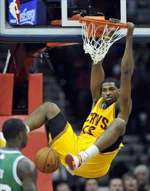Jan 22, 2013; Cleveland, OH, USA; Cleveland Cavaliers power forward Tristan Thompson (13) dunks against the Boston Celtics in the second quarter at Quicken Loans Arena. Mandatory Credit: David Richard-USA TODAY Sports