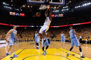 May 2, 2013; Oakland, CA, USA; Golden State Warriors small forward Harrison Barnes (40) dunks against the Denver Nuggets during the first quarter of game six of the first round of the 2013 NBA Playoffs at Oracle Arena. The Warriors defeated the Nuggets 92-88. Mandatory Credit: Kyle Terada-USA TODAY Sports