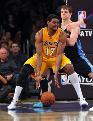 May 12, 2012; Los Angeles, CA, USA; Denver Nuggets center Timofey Mozgov (25) defends Los Angeles Lakers center Andrew Bynum (17) in the first half of game seven of the Western Conference quarterfinals of the 2012 NBA Playoffs at the Staples Center. Mandatory Credit: Jayne Kamin-Oncea-USA TODAY Sports