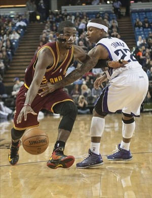 Jan 14, 2013; Sacramento, CA, USA; Cleveland Cavaliers point guard Kyrie Irving (2) drives to the basket past Sacramento Kings point guard Isaiah Thomas (22) during the first quarter at Sleep Train Arena. Mandatory Credit: Ed Szczepanski-USA TODAY Sports
