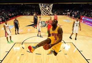 Feb 15, 2013; Houston, TX, USA; Team Shaq guard Dion Waiters (3) of the Cleveland Cavaliers dunks against Team Chuck during the second half of the rising stars challenge during the 2013 NBA All-Star weekend at the Toyota Center. Mandatory Credit: Bob Donnan-USA TODAY Sports