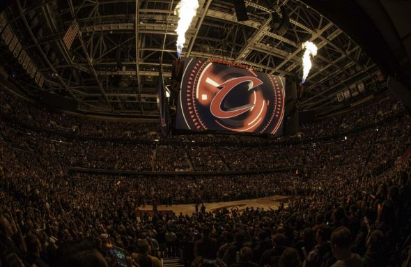Oct 30, 2014; Cleveland, OH, USA; A general view of the pregame ceremonies prior to the game between the New York Knicks and the Cleveland Cavaliers at Quicken Loans Arena. Mandatory Credit: David Richard-USA TODAY Sports