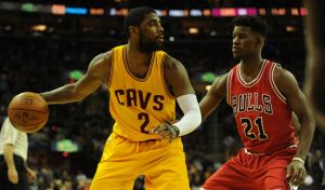 May 6, 2015; Cleveland, OH, USA; Cleveland Cavaliers guard Kyrie Irving (2) and Chicago Bulls guard Jimmy Butler (21) in game two of the second round of the NBA Playoffs at Quicken Loans Arena. Mandatory Credit: Ken Blaze-USA TODAY Sports