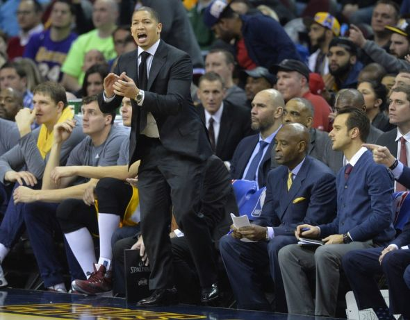 Feb 10, 2016; Cleveland, OH, USA; Cleveland Cavaliers head coach Tyronn Lue reacts in the second quarter against the Los Angeles Lakers at Quicken Loans Arena. Mandatory Credit: David Richard-USA TODAY Sports