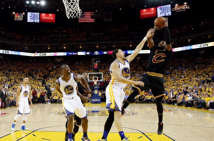 Jun 13, 2016; Oakland, CA, USA; Cleveland Cavaliers guard Kyrie Irving (2) shoots the ball against Golden State Warriors guard Klay Thompson (11) during the fourth quarter in game five of the NBA Finals at Oracle Arena. Mandatory Credit: Bob Donnan-USA TODAY Sports