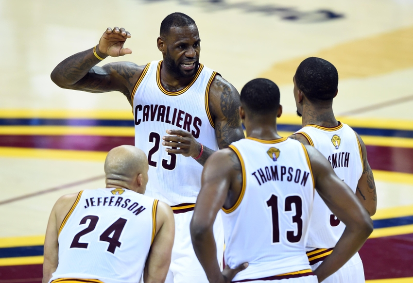 Jun 8, 2016; Cleveland, OH, USA; Cleveland Cavaliers center Tristan Thompson (13) talks to forward Richard Jefferson (24), center Tristan Thompson (13) and guard J.R. Smith (5) during the second quarter in game three of the NBA Finals at Quicken Loans Arena. Mandatory Credit: Bob Donnan-USA TODAY Sports