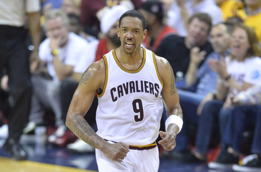 May 25, 2016; Cleveland, OH, USA; Cleveland Cavaliers forward Channing Frye (9) reacts in the third quarter against the Toronto Raptors in game five of the Eastern conference finals of the NBA Playoffs at Quicken Loans Arena. Mandatory Credit: David Richard-USA TODAY Sports