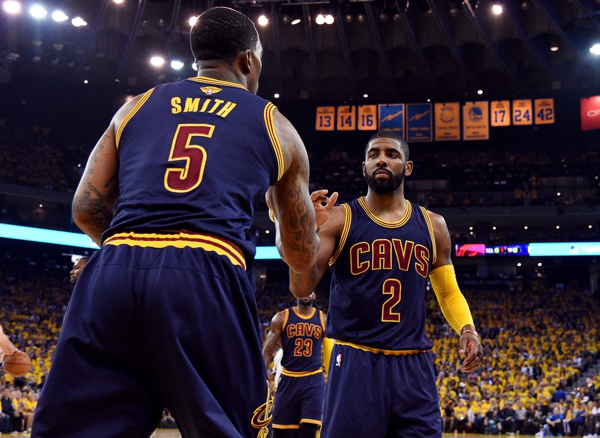 23d247ec4 ... Cavaliers guard Kyrie Irving (2) celebrates with Cleveland Cavaliers  guard J.R. Smith (5) during the first quarter against the Golden State  Warriors in ...