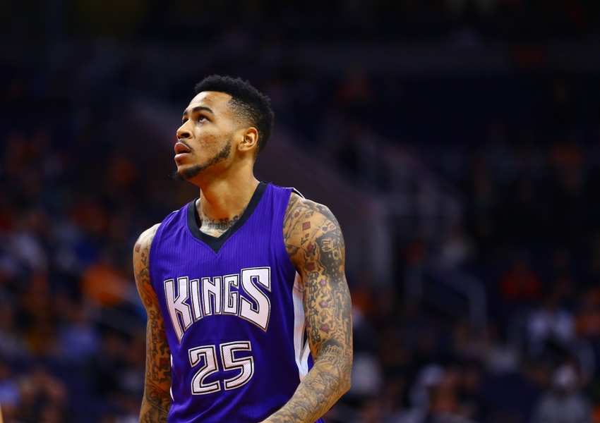 Nov 4, 2015; Phoenix, AZ, USA; Sacramento Kings forward Eric Moreland (25) against the Phoenix Suns at Talking Stick Resort Arena. The Suns defeated the Kings 118-97. Mandatory Credit: Mark J. Rebilas-USA TODAY Sports