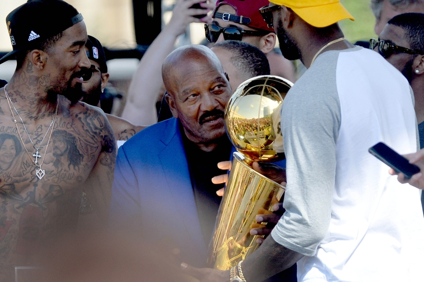 Jun 22, 2016; Cleveland, OH, USA; Former Cleveland Browns player Jim Brown, a member of the last team to win a major Cleveland championship hands the Larry O