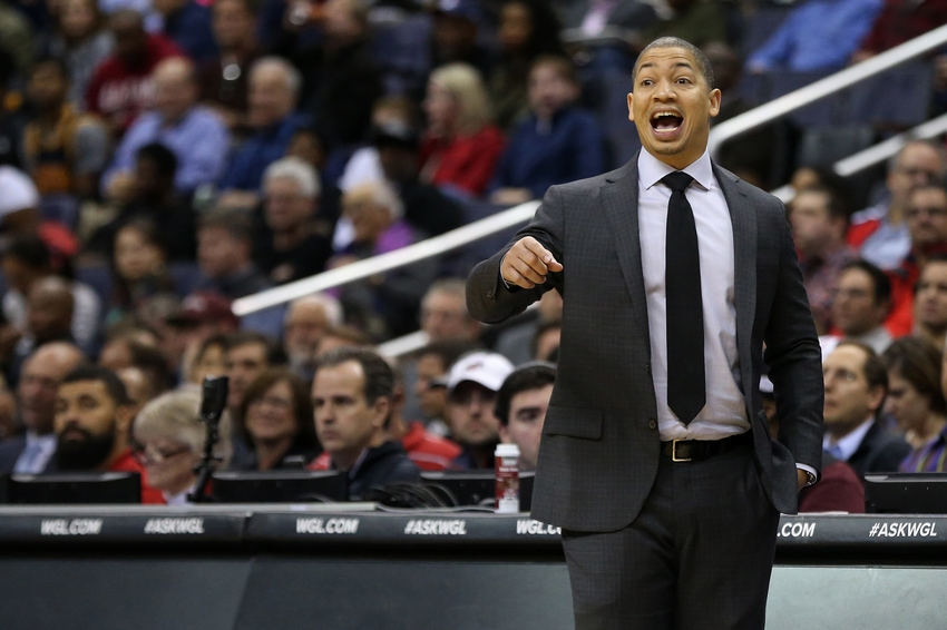 Nov 11, 2016; Washington, DC, USA; Cleveland Cavaliers head coach Tyronn Lue talks from the bench against the Washington Wizards in the second quarter at Verizon Center. The Cavaliers won 105-94. Mandatory Credit: Geoff Burke-USA TODAY Sports