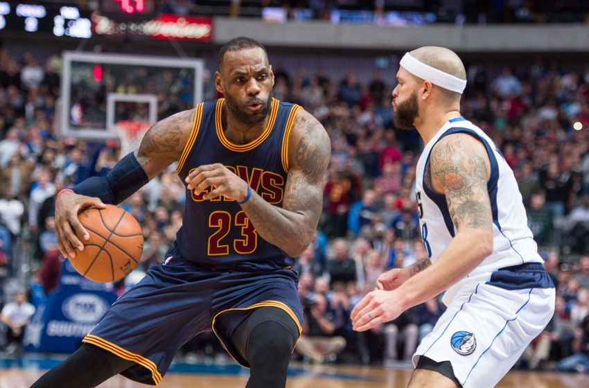 Jan 12, 2016; Dallas, TX, USA; Dallas Mavericks guard Deron Williams (8) guards Cleveland Cavaliers forward LeBron James (23) during the game at the American Airlines Center. The Cavaliers defeat the Mavericks 110-107 in overtime. Mandatory Credit: Jerome Miron-USA TODAY Sports