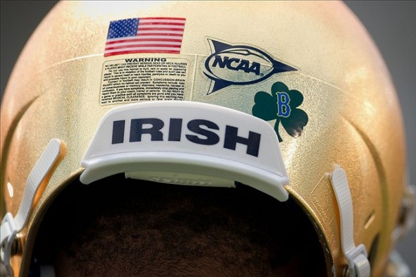 Apr 20, 2013; Notre Dame, IN, USA; The Notre Dame Fighting Irish wear a shamrock sticker with the letter B in honor of the victims of the Boston Marathon bombings at the Blue-Gold Game at Notre Dame Stadium. Mandatory Credit: Matt Cashore-USA TODAY Sports