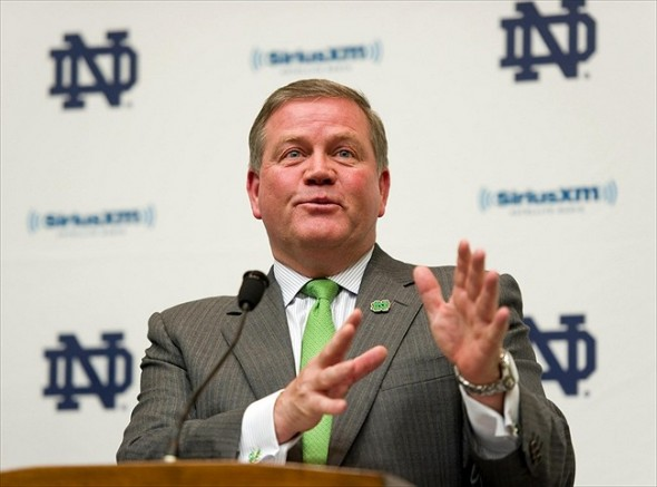 Feb. 1, 2012; South Bend, IN, USA; Notre Dame Fighting Irish head coach Brian Kelly speaks at a press conference for national signing day at the Guglielmnio Athletics Complex. Mandatory Credit: Matt Cashore-USA TODAY Sports