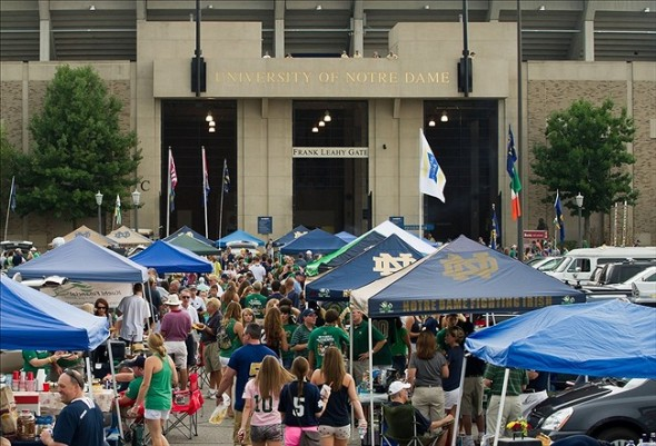 Aug 31, 2013; South Bend, IN, USA; Fans tailgate outside of Notre Dame Stadium before the game between the Notre Dame Fighting Irish and the Temple Owls. Mandatory Credit: Matt Cashore-USA TODAY Sports