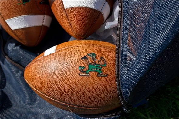 Aug 9, 2013; South Bend, IN, USA; An equipment bag full of footballs sits on the sideline during the Notre Dame Fighting Irish practice at the LaBar Practice Complex. Mandatory Credit: Matt Cashore-USA TODAY Sports