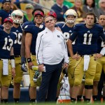 Sep 21, 2013; South Bend, IN, USA; Notre Dame Fighting Irish head coach Brian Kelly reacts to a missed field goal in the second quarter against the Michigan State Spartans at Notre Dame Stadium. Mandatory Credit: Matt Cashore-USA TODAY Sports