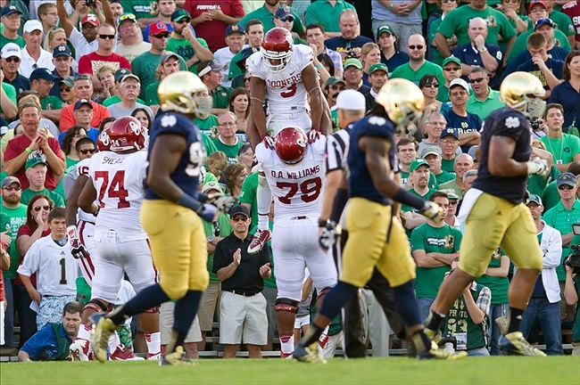 Sep 28, 2013; South Bend, IN, USA; Oklahoma Sooners wide receiver Sterling Shepard (3) celebrates with offensive lineman Kyle Marrs (78) after a two point conversion in the fourth quarter against the Notre Dame Fighting Irish at Notre Dame Stadium. Oklahoma won 35-21. Mandatory Credit: Matt Cashore-USA TODAY Sports