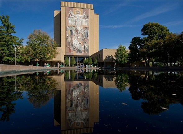 Sep 28, 2013; South Bend, IN, USA; The Hesburgh Library Word of Life Mural aka Touchdown Jesus as seen before the game between the Notre Dame Fighting Irish and the Oklahoma Sooners at Notre Dame Stadium. Mandatory Credit: Matt Cashore-USA TODAY Sports