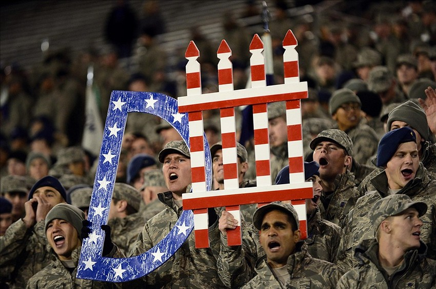 Oct 10, 2013; Colorado Springs, CO, USA; Air Force Falcons cadets hold a sign during the game against the San Diego State Aztecs at Falcon Stadium. Mandatory Credit: Ron Chenoy-USA TODAY Sports