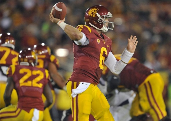 October 10, 2013; Los Angeles, CA, USA; Southern California Trojans quarterback Cody Kessler (6) throws a pass against the Arizona Wildcats during the second half at the Los Angeles Memorial Coliseum. Mandatory Credit: Gary A. Vasquez-USA TODAY Sports