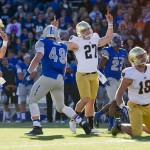 Oct 26, 2013; Colorado Springs, CO, USA; Notre Dame Fighting Irish kicker Kyle Brindza (27) celebrates a field goal in the second quarter against the Air Force Falcons at Falcon Stadium. Mandatory Credit: Matt Cashore-USA TODAY Sports