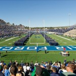 Oct 26, 2013; Colorado Springs, CO, USA; United States Air Force Academy cadets stand on the field for the national anthem before the game between the Notre Dame Fighting Irish and the Air Force Falcons at Falcon Stadium. Mandatory Credit: Matt Cashore-USA TODAY Sports