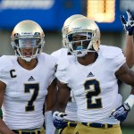 Oct 26, 2013; Colorado Springs, CO, USA; Notre Dame Fighting Irish wide receiver Chris Brown (2) celebrates with wide receiver TJ Jones (7) after Brown caught a pass for a touchdown in the third quarter against the Air Force Falcons at Falcon Stadium. Mandatory Credit: Matt Cashore-USA TODAY Sports