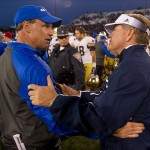 Oct 26, 2013; Colorado Springs, CO, USA; Notre Dame Fighting Irish head coach Brian Kelly shakes hands with Air Force Falcons head coach Troy Calhoun after Notre Dame defeated Air Force 45-10 at Falcon Stadium. Mandatory Credit: Matt Cashore-USA TODAY Sports