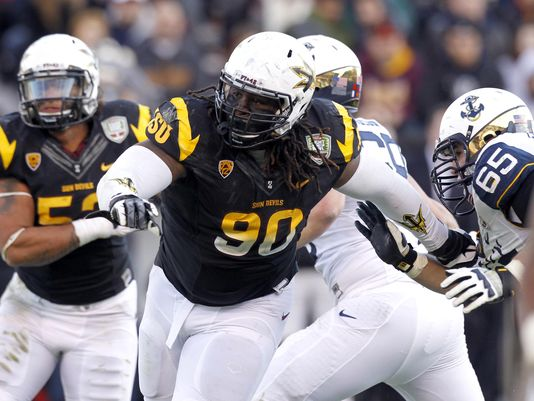 Arizona State Sun Devils defensive tackle Will Sutton (90) rushes the quarterback before recording a sack against the Navy Midshipmen in the third quarter of the Fight Hunger Bowl at AT&T Park.(Photo: Cary Edmondson, USA TODAY Sports)