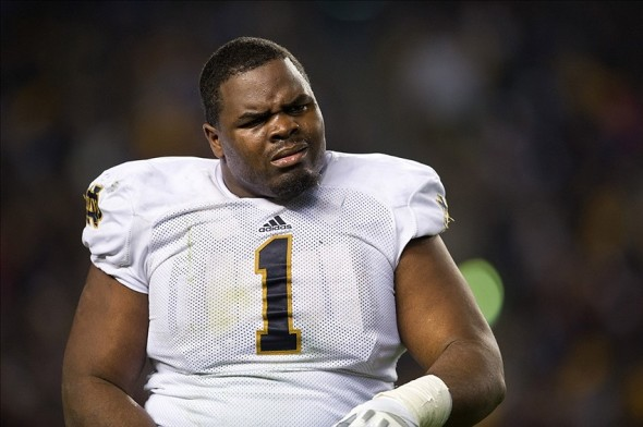 Nov 9, 2013; Pittsburgh, PA, USA; Notre Dame Fighting Irish nose tackle Louis Nix (1) walks to the sideline in the third quarter against the Pittsburgh Panthers at Heinz Field. Pitt won 28-21. Mandatory Credit: Matt Cashore-USA TODAY Sports