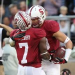 Nov 30, 2013; Stanford, CA, USA; Stanford Cardinal wide receiver Devon Cajuste (89) celebrates with wide receiver Ty Montgomery (7) after scoring a touchdown against the Notre Dame Fighting Irish during the first quarter at Stanford Stadium. Mandatory Credit: Kelley L Cox-USA TODAY Sports