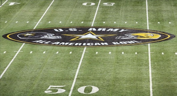 Jan 5, 2013; San Antonio, TX, USA; General view of the All American Bowl logo before the start of the high school football game between the West and East at the Alamodome. Mandatory Credit: Soobum Im-USA TODAY Sports