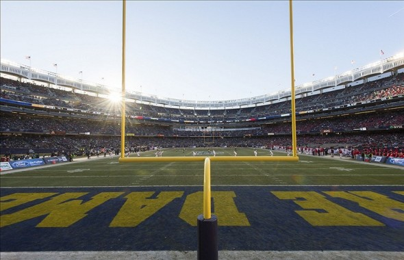 Dec 28, 2013; Bronx, NY, USA; A general view of Yankee Stadium during the Pinstripe Bowl game between the Notre Dame Fighting Irish and the Rutgers Scarlet Knights. Notre Dame won 29-16. Mandatory Credit: Matt Cashore-USA TODAY Sport