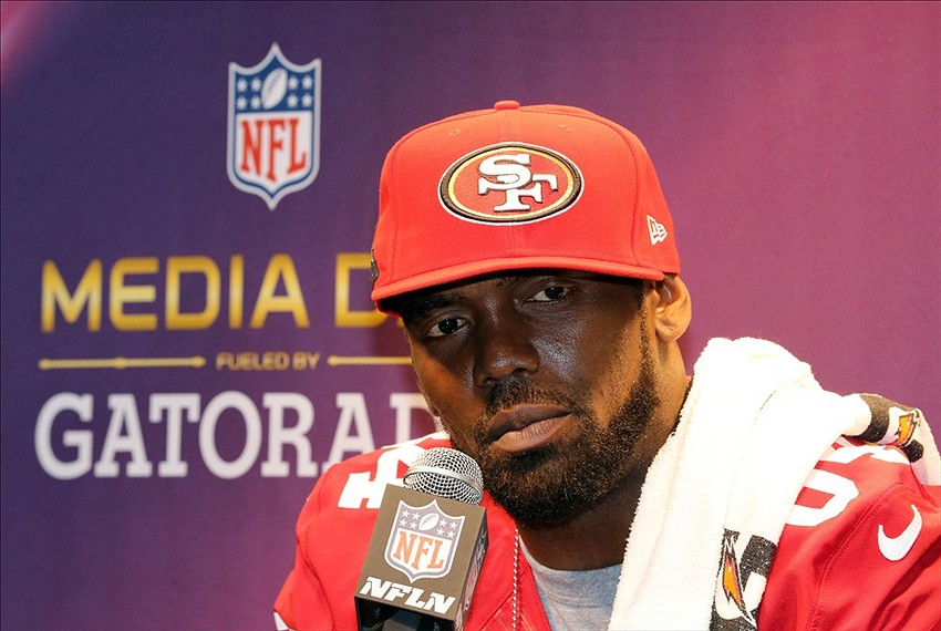 Jan 29, 2013; New Orleans, LA, USA; San Francisco 49ers wide receiver Randy Moss during media day in preparation for Super Bowl XLVII against the Baltimore Ravens at the Mercedes-Benz Superdome. Mandatory Credit: Matthew Emmons-USA TODAY Sports