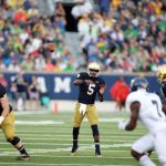 Aug 30, 2014; South Bend, IN, USA; Notre Dame Fighting Irish quarterback Everett Golson (5) throws a pass against the Rice Owls at Notre Dame Stadium. Mandatory Credit: Brian Spurlock-USA TODAY Sports