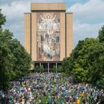 Aug 30, 2014; South Bend, IN, USA; A general view of the Hesburgh Library at the University of Notre Dame before the game between the Rice Owls and Notre Dame Fighting Irish. The Word of Life Mural is commonly known as Touchdown Jesus. Mandatory Credit: Matt Cashore-USA TODAY Sports